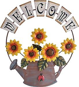 Outdoor Sunflower Wall Decor, Hand-Painted Metal Sunflower Wall Art Decor (16×14Inch)