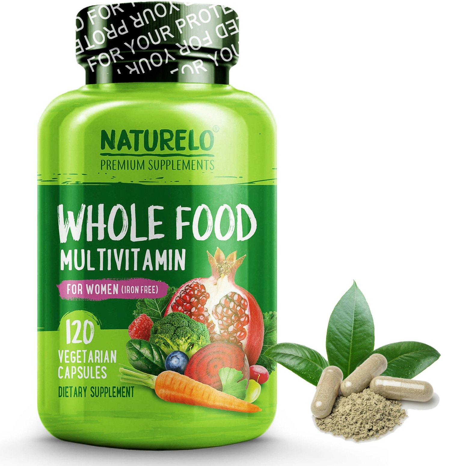 NATURELO Whole Food Multivitamin for Women 50+ (Iron Free) Natural Vitamins, Minerals, Raw Organic Extracts - Best for Post Menopausal Women Over 50 - Vegan - No GMO - 120 Capsules