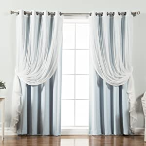 "Best Home Fashion uMIXm Tulle Sheer Lace & Blackout 4 Piece Curtain Set - Antique Bronze Grommet Top - Sky Blue - 52"" W X 96"" L - (Set of 4 Panels)"