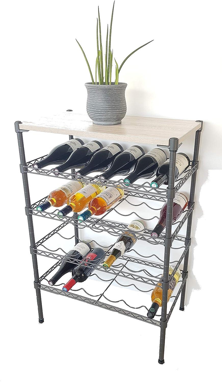 Range Bouteilles Rangement Porte bouteilles-47cm-Blanc-16 Bouteilles NALIAN /® Etag/ère /à Bouteilles de 16 /à 42 Bouteilles-Chrome//Noir//Blanc-Plusieurs Tailles Disponibles