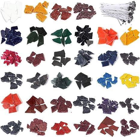 Kalolary Tinte de Cera para Velas, Tintes para Velas para Hacer Velas, 34 Tintes para Velas de Colores para Hacer Velas con 100 Piezas Mechas para ...