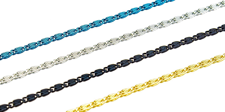 Cordon /à lunettes Cha/îne /à lunettes en aluminium de couleurs diff/érentes et en design Cha/înes /à maillons noir profond, single pack