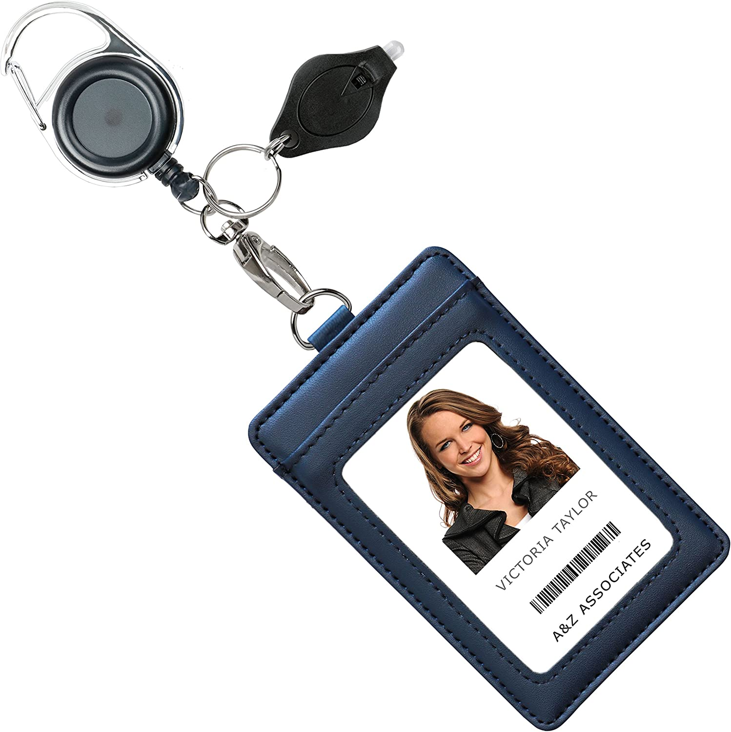 Genuine Leather ID Badge Holder Wallet with Heavy Duty Carabiner Retractable Reel, Key Ring and Metal Clip, 3 Card Pockets. Holds Multiple Cards & Keys. Key Chain Flashlight. Vertical. Midnight Blue