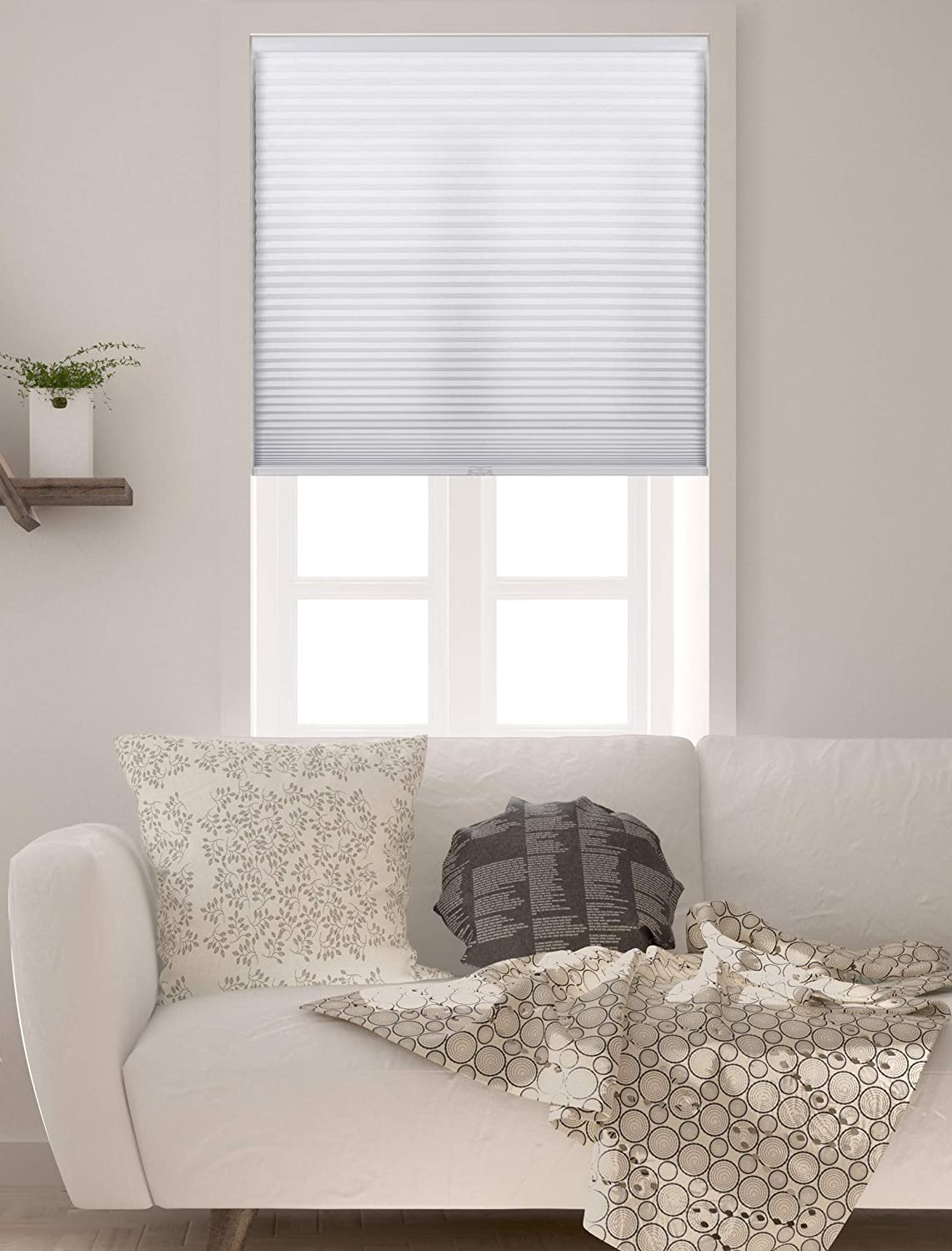 """Arlo Blinds Single Cell Light Filtering Cordless Cellular Shades, Color: Pure White, Size: 69"""" W x 72"""" H"""