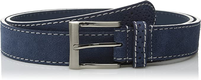 "Blue suede belt Genuine leather White edges Navy Men/'s belts Fashion Casual 36/"""