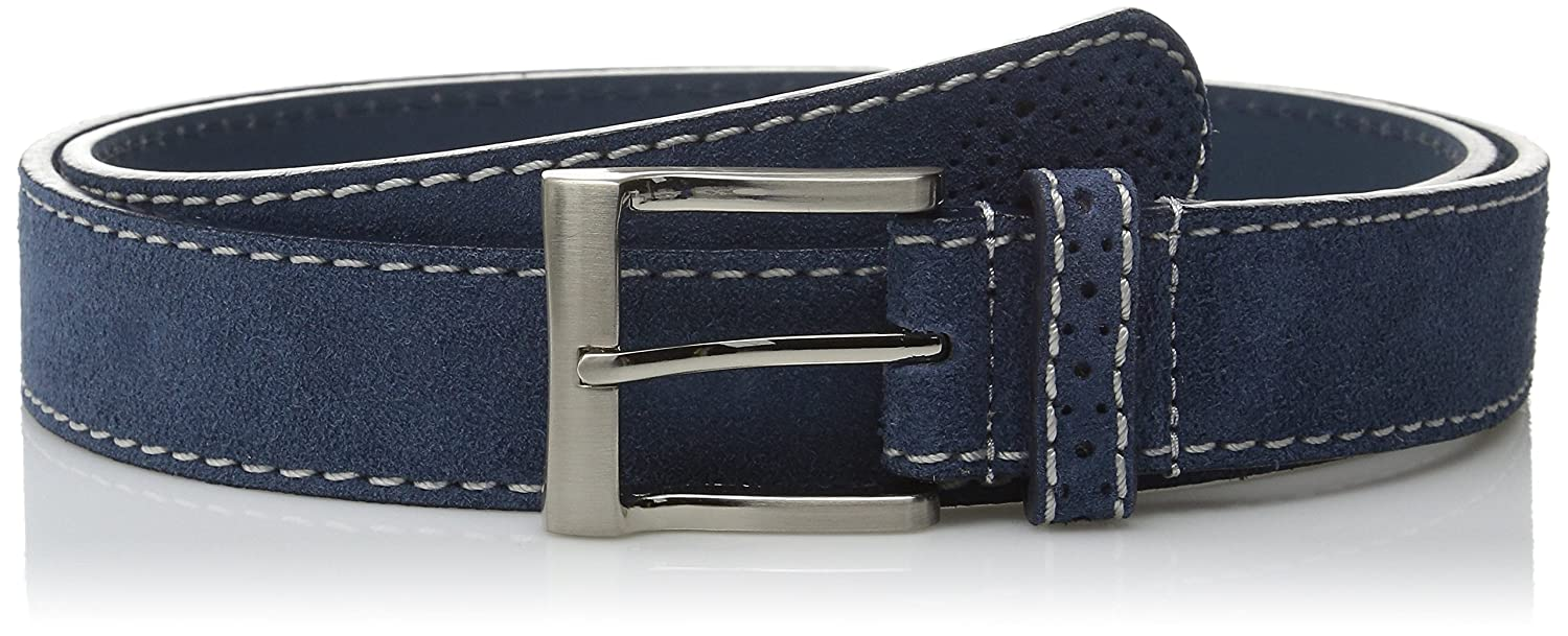Florsheim Mens Casual Genuine Suede Leather Belt with Contrast Stitched Edge
