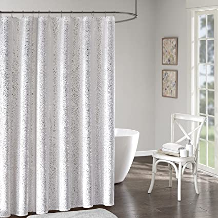 Intelligent Design Adele Printed Shower Curtain White Silver 72x72