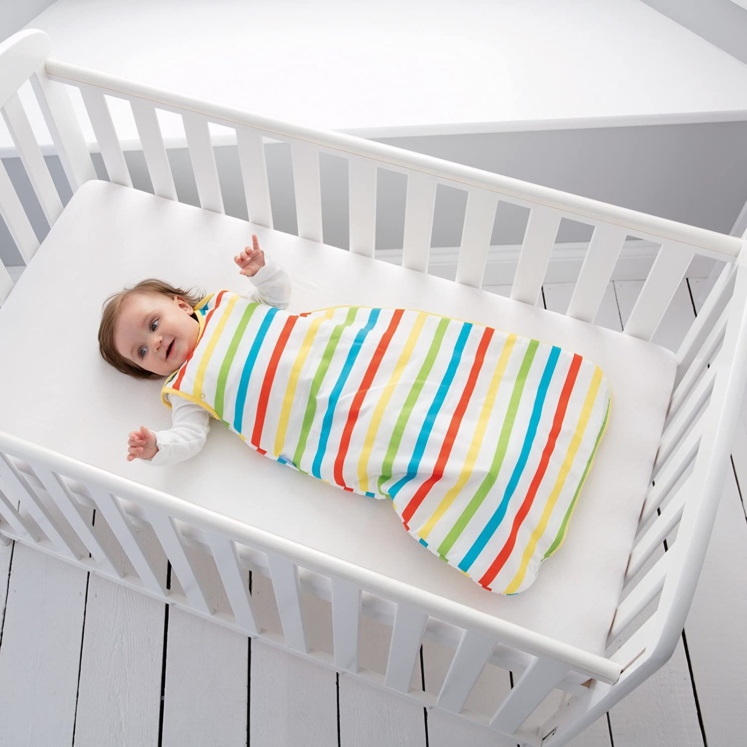 The Gro Company Rainbow Stripe Grobag Baby Sleeping Bag Wash and Wear Twin Pack 1.0 Tog 0-6 Months