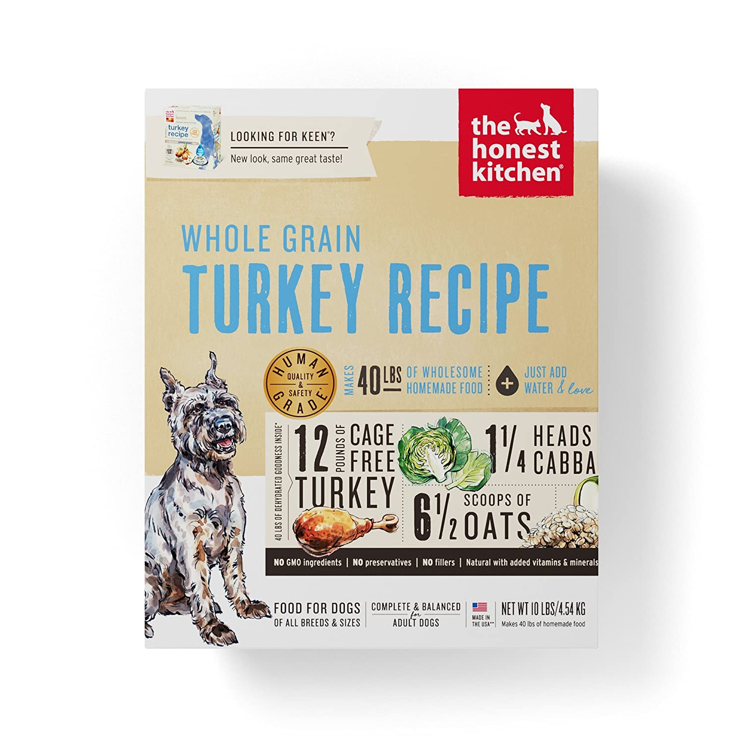 Beau Honest Kitchen The Human Grade Dehydrated Organic Grain Turkey Dog Food, 10  Lb   Keen: Dehydrated Pet Food: Pet Supplies: Amazon.com