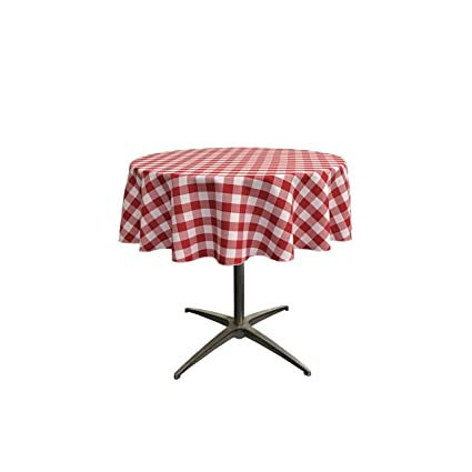 Merveilleux LA Linen Poly Checkered Round Tablecloth, 58 Inch, Red/White