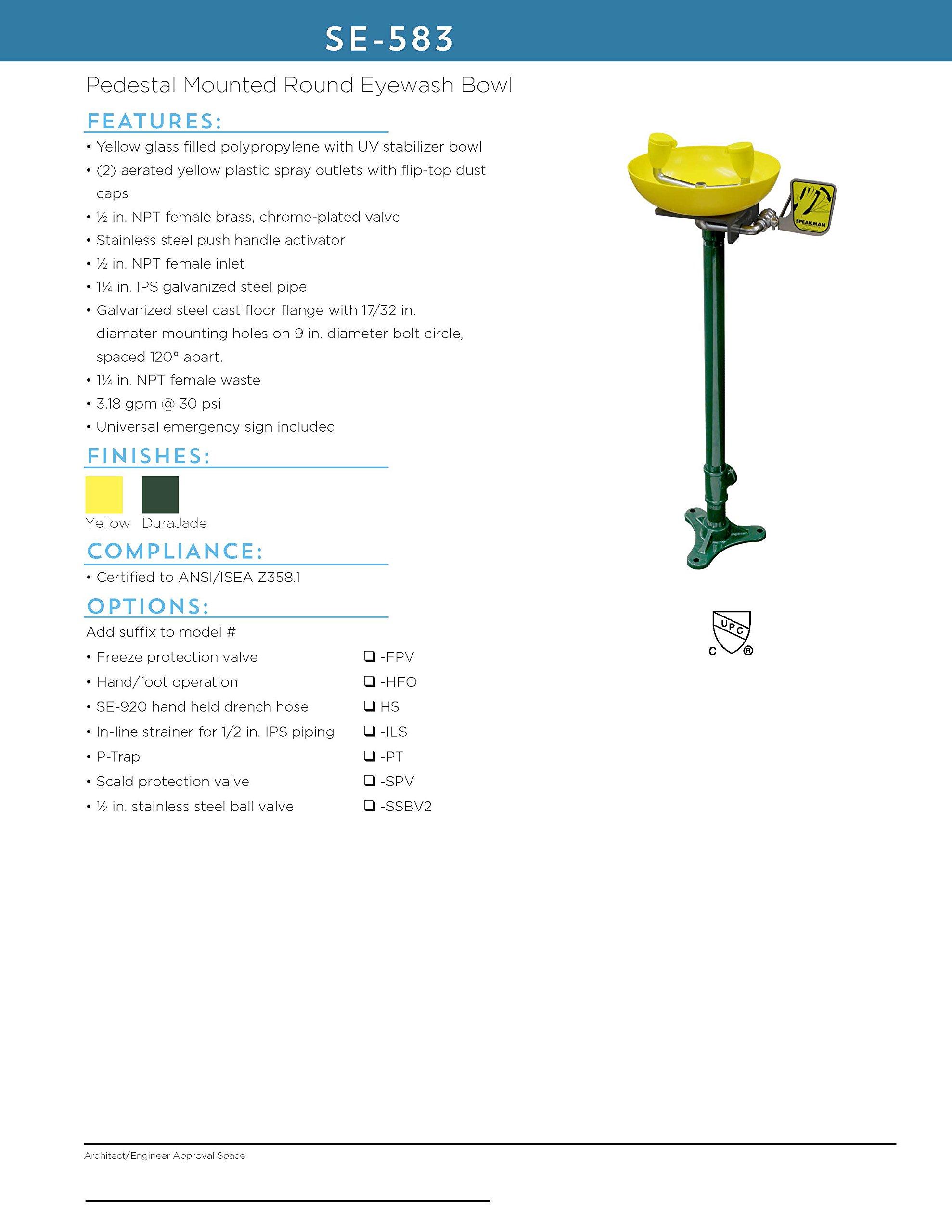 Speakman SE-583 Traditional Series Pedestal-Mounted Emergency Eyewash, Yellow by Speakman (Image #3)