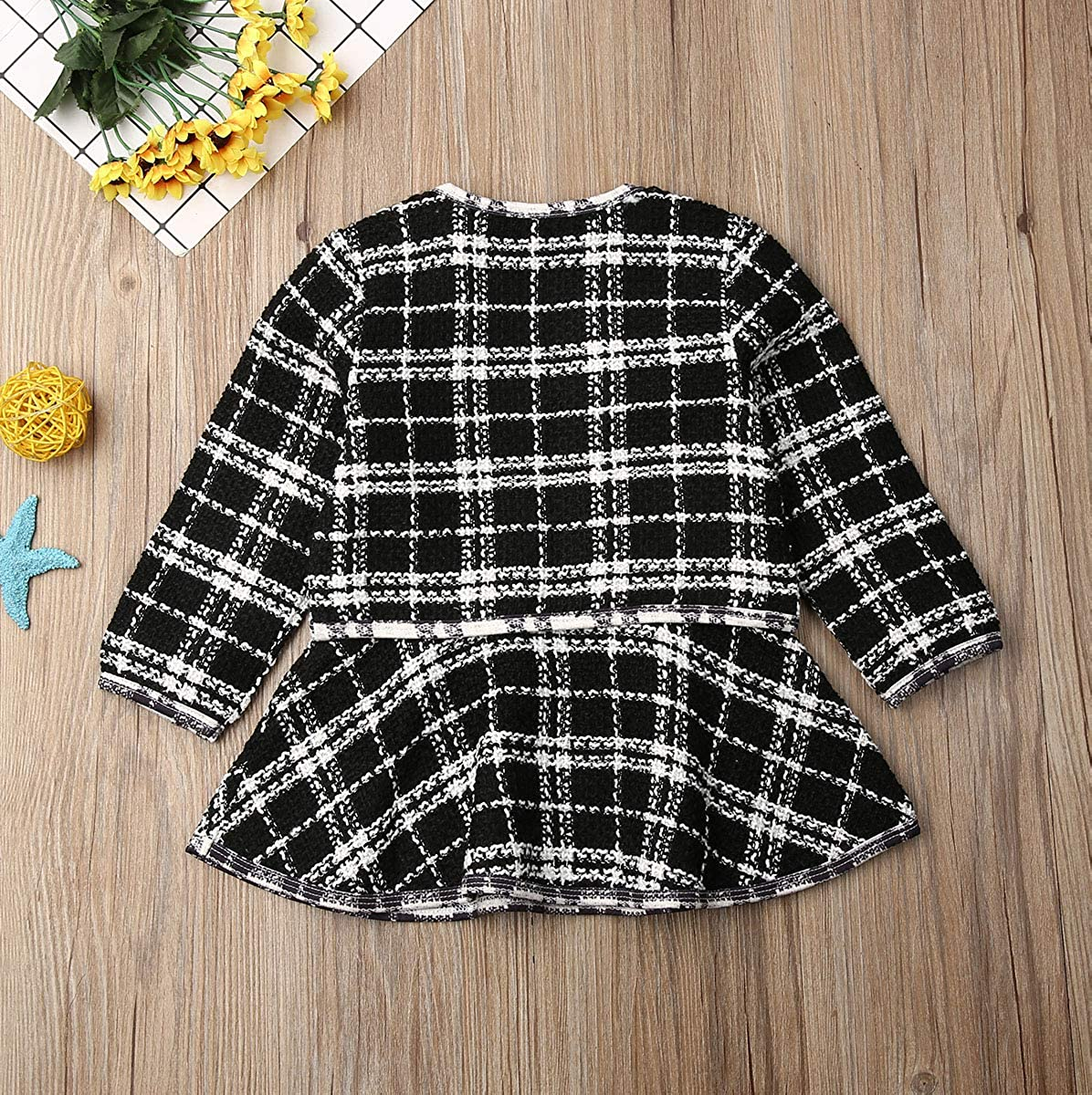 Toddler Baby Girls Clothes Plaid Cardigan Jacket Coat and Long Sleeve Tutu Dress 2Pcs Formal Outfits Set Spring Clothes
