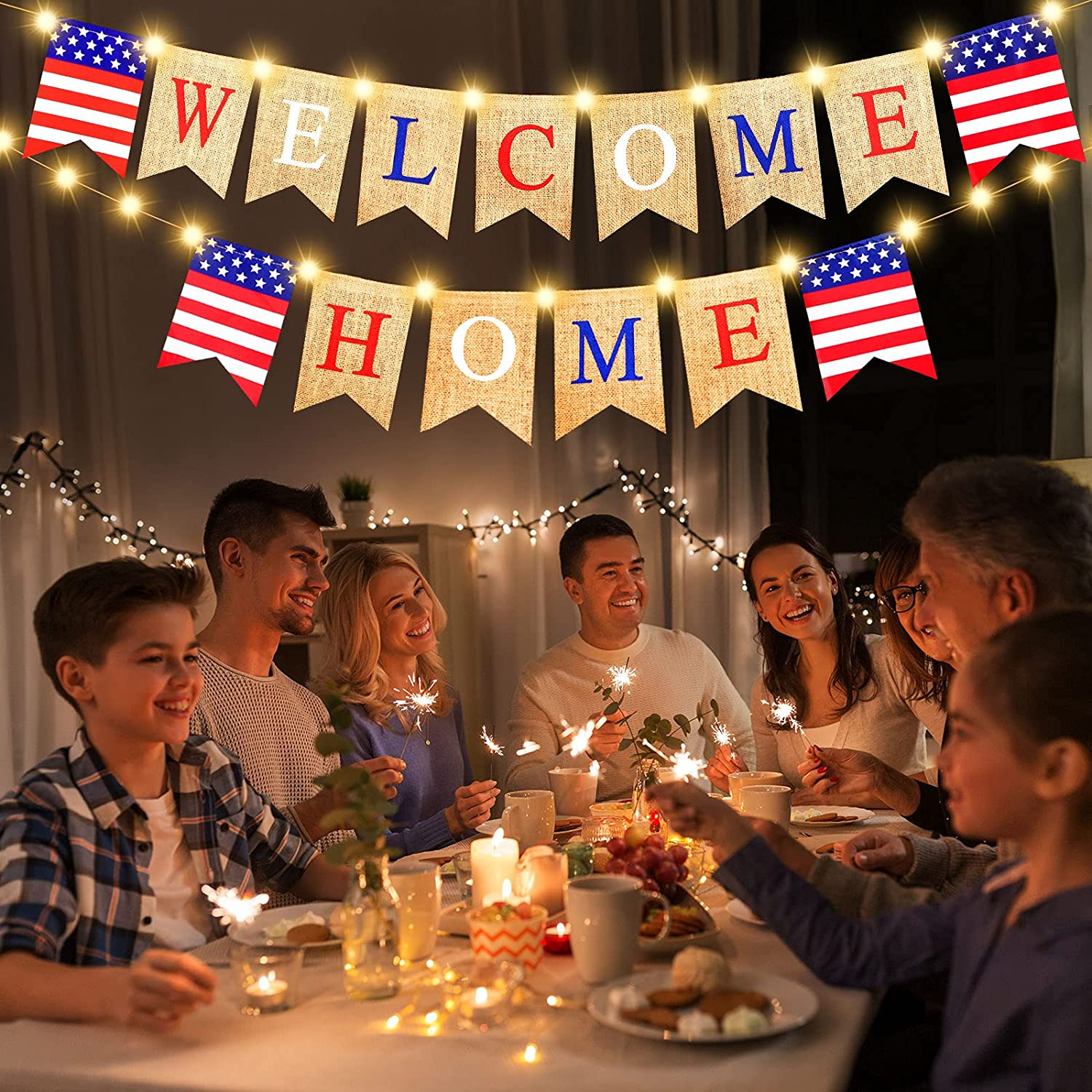 Welcome Home Banner with LED Fairy String Light 2 Flicker Mode, Patriotic Banner Bunting Welcome Home Banner for Housewarming Patriotic Military Decoration Family Party Supplies, Photo Booth Props