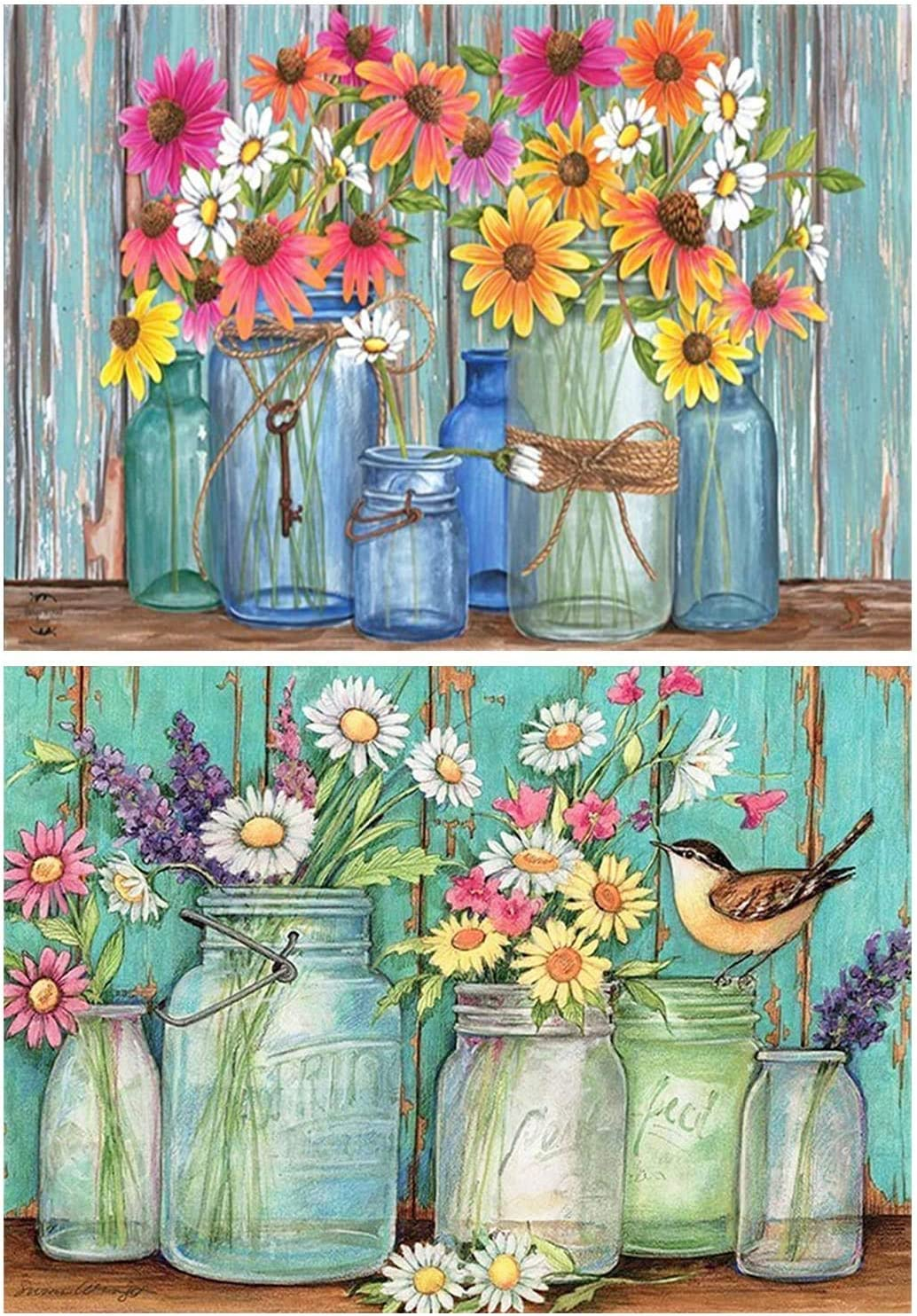 12/×16 inches 2 Pack DIY 5D Diamond Painting Kits for Adults Paint by Number Kits Full Drill Painting Diamond Pictures Arts Craft for Wall Decoration Colorful Daisy