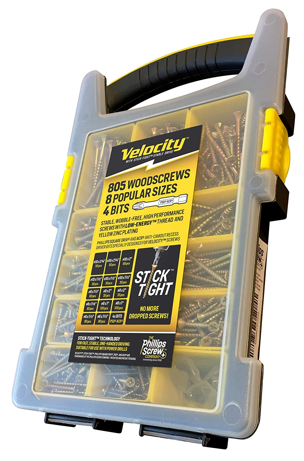 Site-Case Interior Wood Screw Kit Contains 805 Screws in 8 Popular Sizes by Velocity