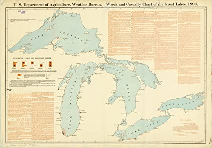 Historic Map | Great Lakes 1894 | Wreck and Casualty Chart of The Great  Lakes, 1894 | Antique Vintage Reproduction 36in x 24in