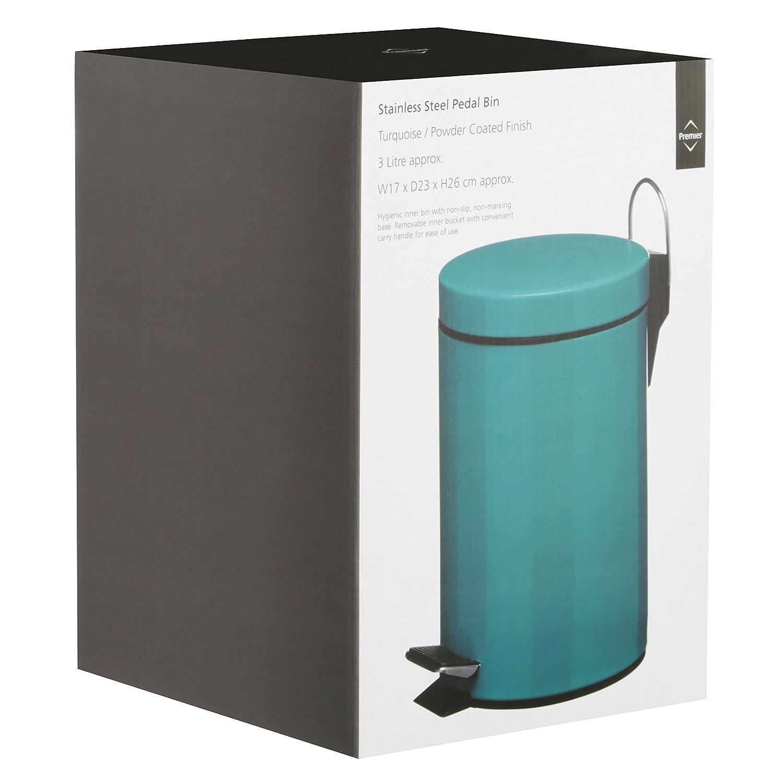 Premier Housewares 3 L Pedal Bin, 26 x 17 x 23 cm - Turquoise ...