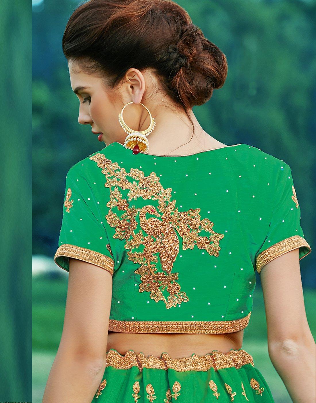 DesiButik's Wedding Wear Ravishing Rama Banarasi Silk Lehenga by DesiButik (Image #4)