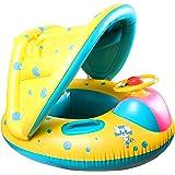 Swonuk Bebé Flotador Anillo de natación Inflable con sombrilla Ajustable Barco de natación para 12-