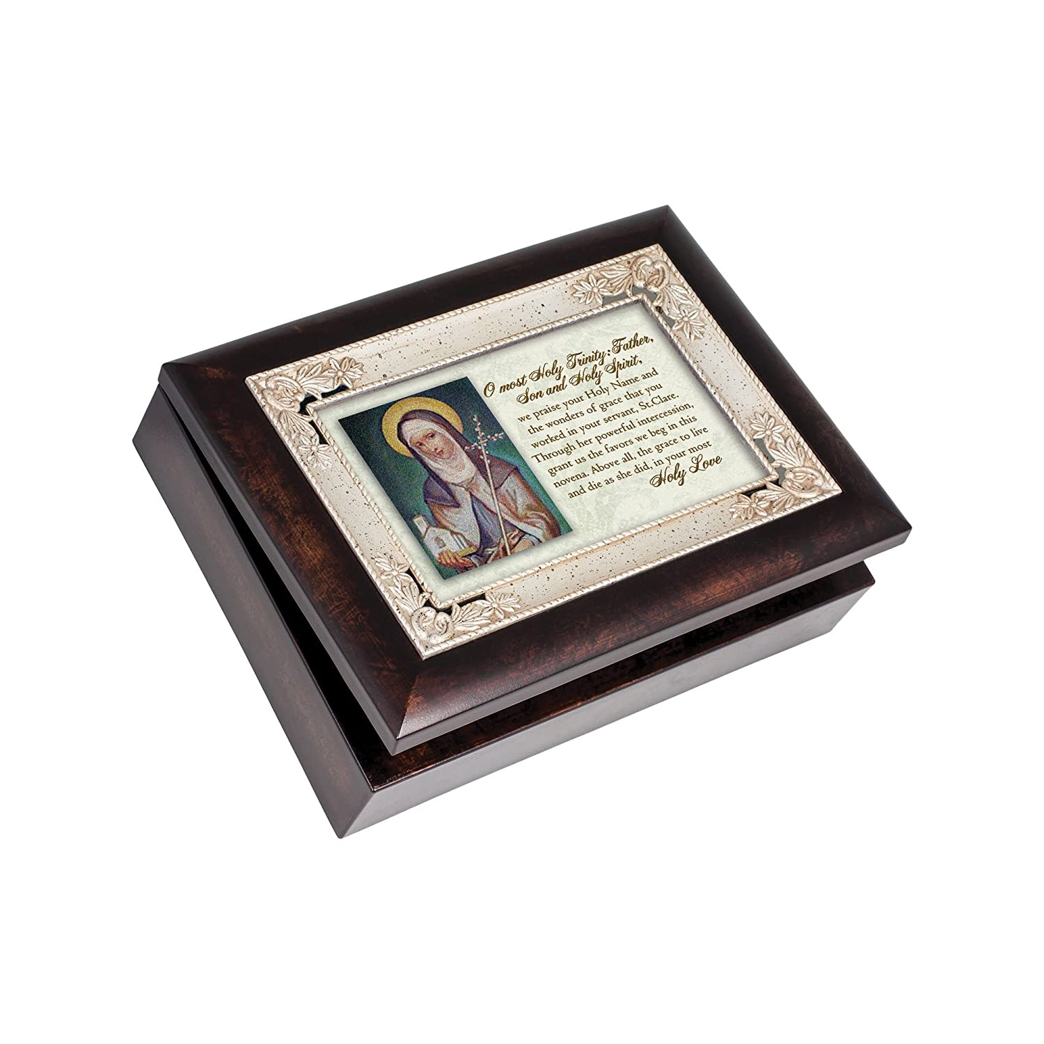 St. Clare Pray for Us Italian Wood Finish Jewelry Music Box Plays Song Ave Maria