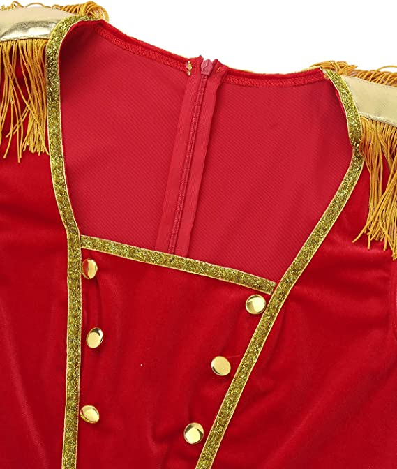 Freebily Gilet Donna Elegante Corto Giacca Presentatore Circo Costume Carnevale Travestimenti Divertenti Halloween Cosplay Aderente Waistcoat Vintage Rosso