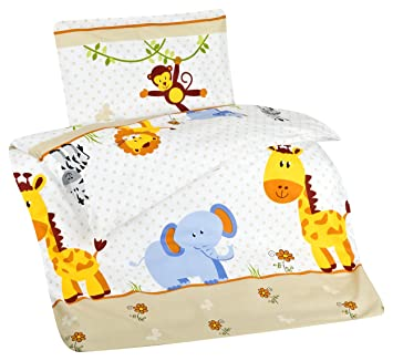 Aminata Kids Kinder Bettwäsche 100 X 135 Cm Zoo Tier E Safari