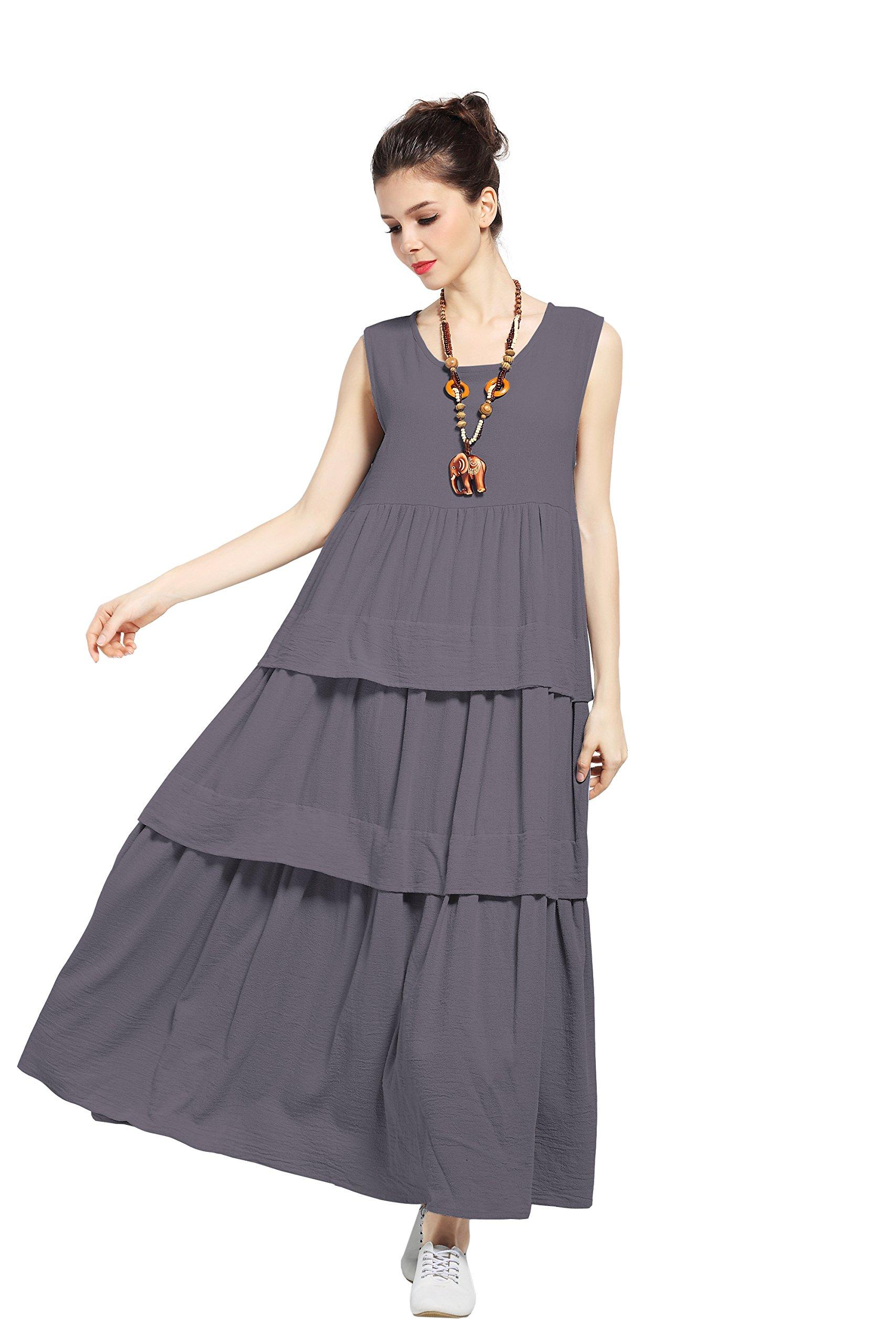 Anysize Sleeveless Layered Dress Linen&Cotton Plus Size Spring Summer Dress F94B