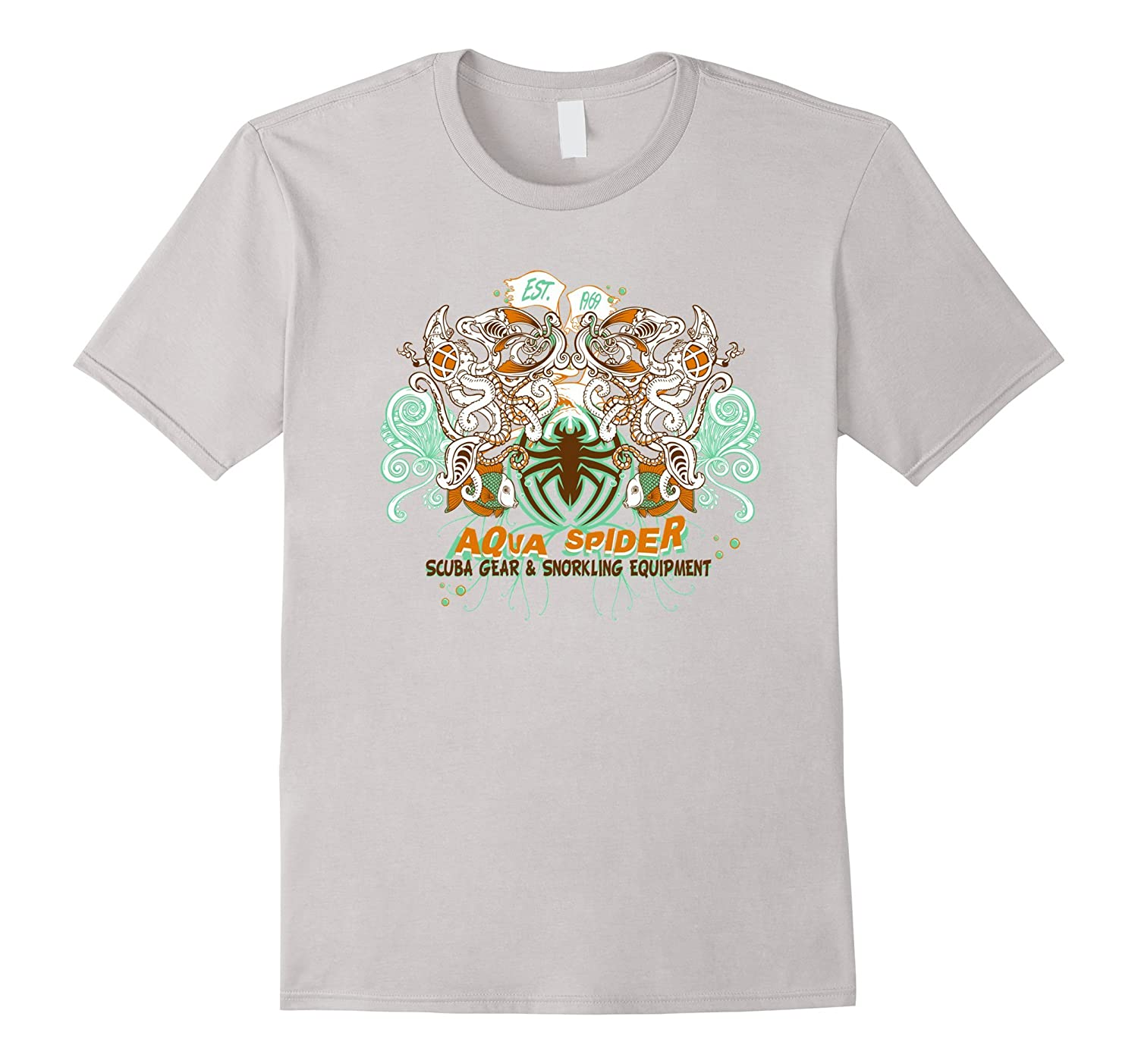 Aqua Spider T Shirts For Women Graphic Tee For Men-BN