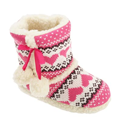Amazon.com | Slumberzzz Childrens Girls Fair Isle Pattern Slipper ...