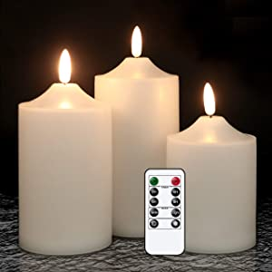 GenSwin Flickering Flameless Candles, Waterproof LED Candles with Remote and Timer,Battery Operated Pillar 3D Wick Candles for Indoor Outdoor Lanterns, Won't melt, Long-Lasting(White, Set of 3)