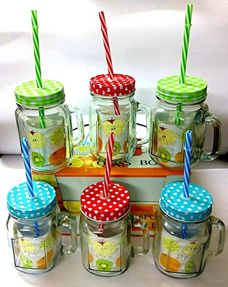 Buy Shopkooky Colored Lid Mason Jars 480ml With Handle And Straw For Drinking Coffee Milk Shake Etc Return Gifts For Kids Birthday In Bulk Online At Low Prices In India Amazon In