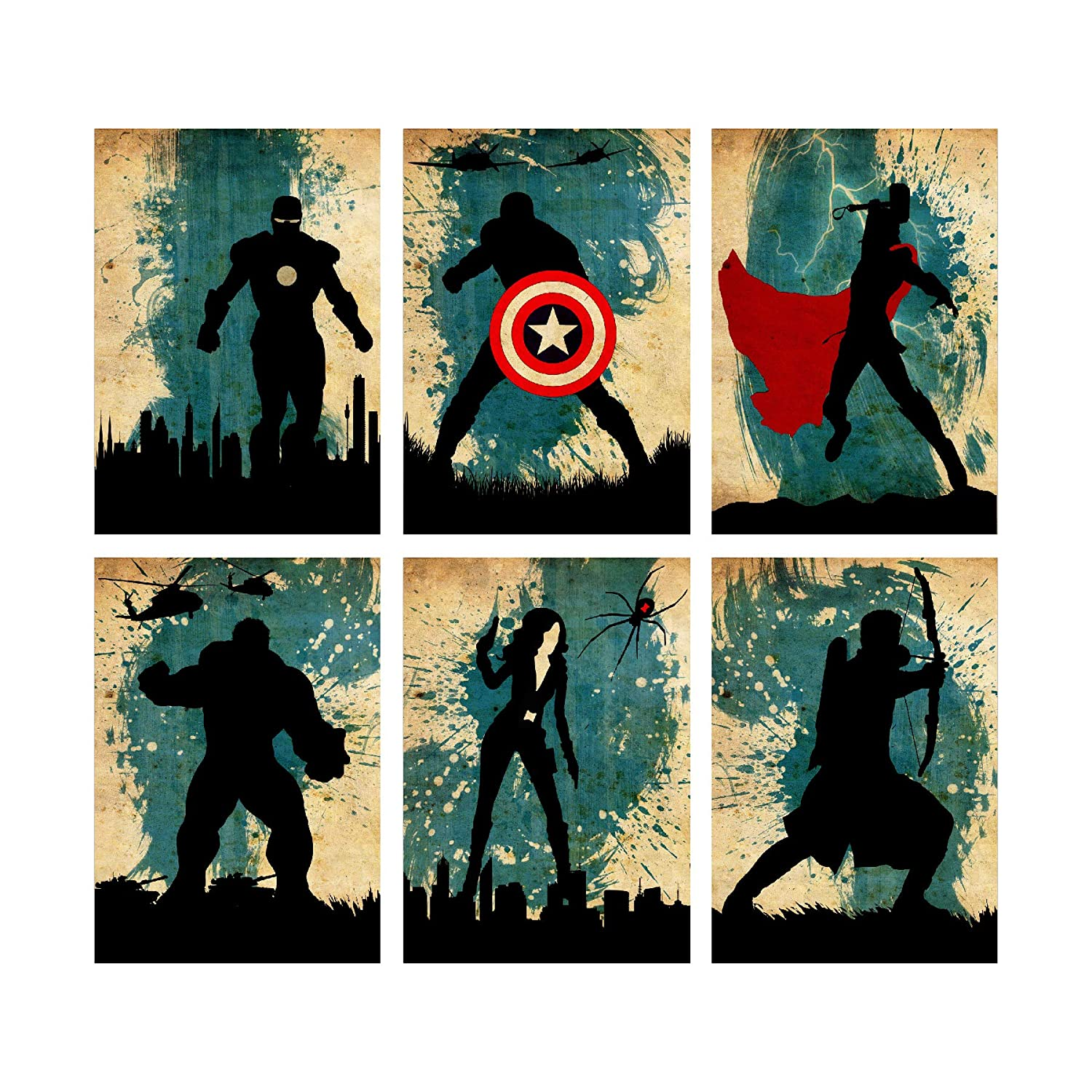 The Avengers Minimalist Poster Set 6 Minimalist Watercolor Vintage Poster Marvel Super heroes Movie Print Captain America Iron Man Thor Hulk Black Widow Hawkeye Artwork Wall Art Home Decor