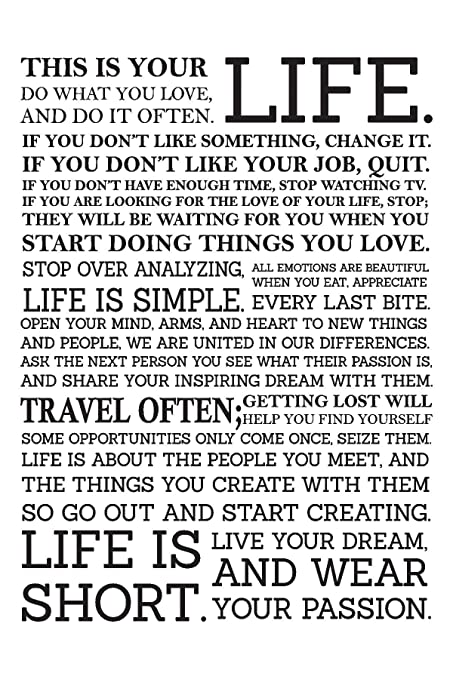 Inephos This Is Your Life Quotes Poster Art Motivational Posters Cool This Is Your Life Quote Poster
