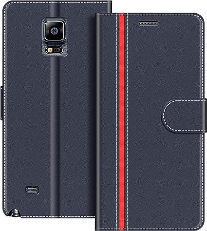 COODIO Funda Samsung Galaxy Note 4 con Tapa, Funda Movil Samsung Note 4, Funda Libro Galaxy Note 4 Carcasa Magnético Funda para Samsung Galaxy Note 4, Azul Oscuro/Rojo: Amazon.es: Electrónica
