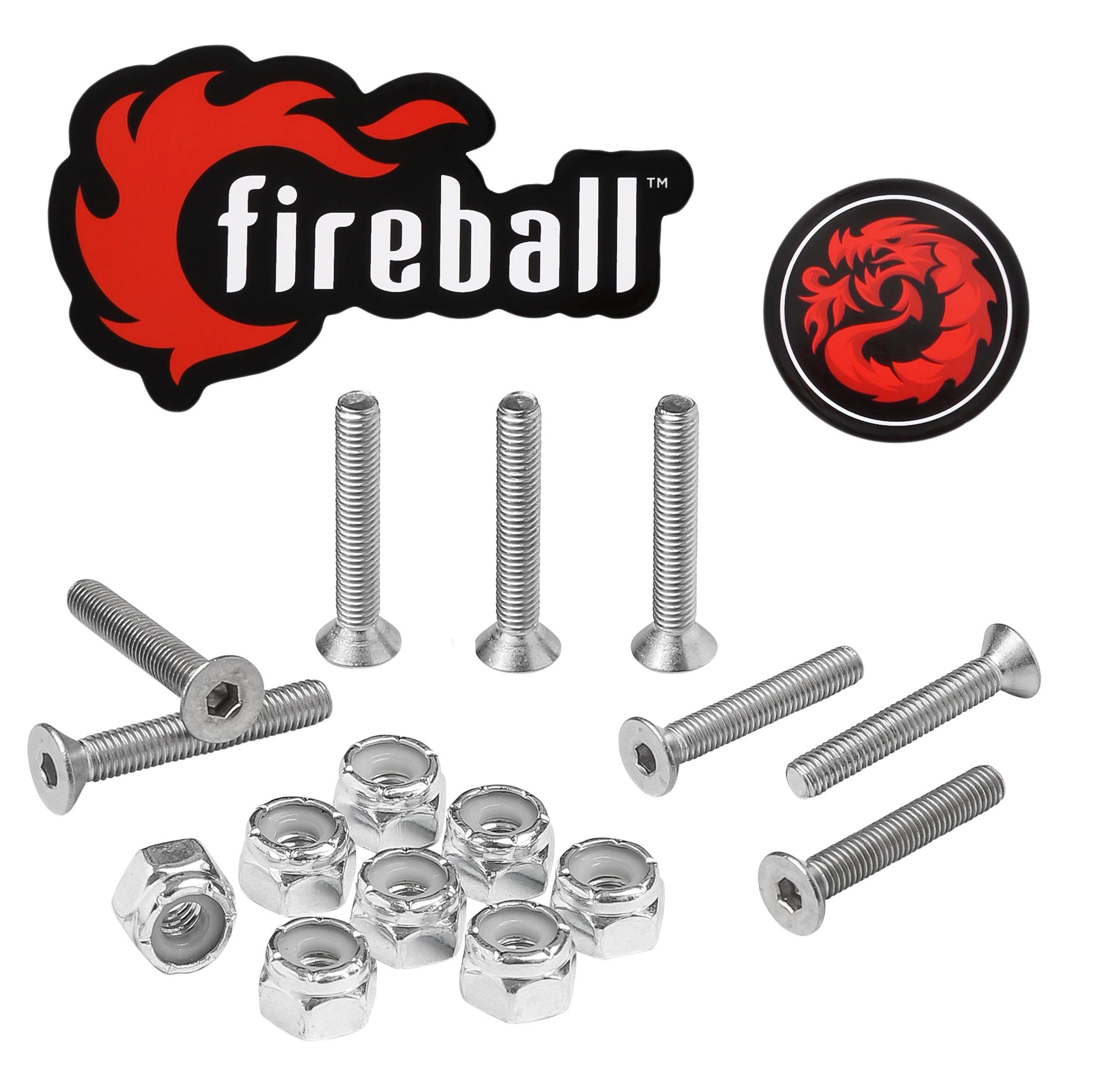 Fireball Dragon Stainless Steel Skateboard Hardware Set (Flat Allen, 1.25'')