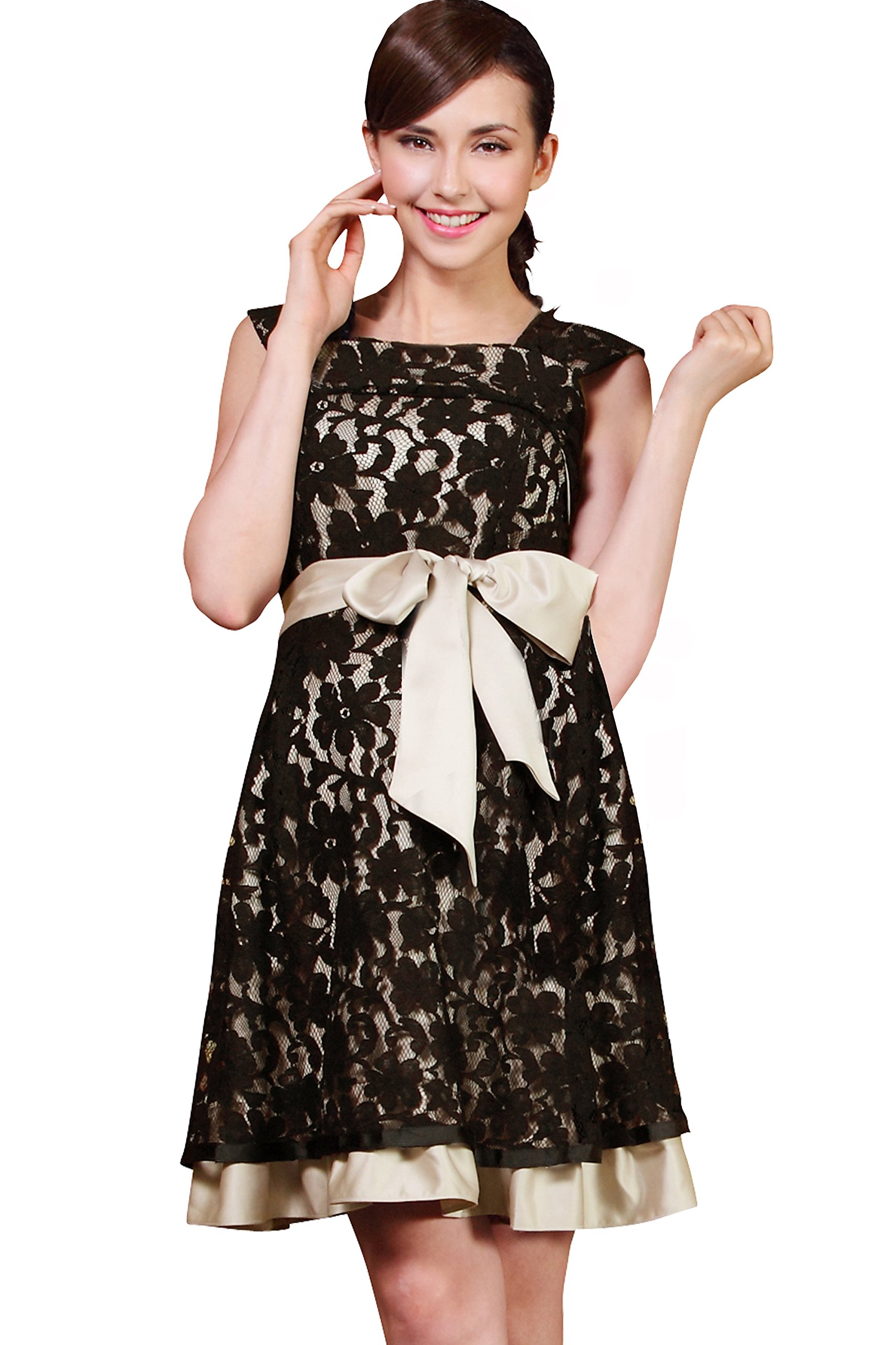 Sweet Mommy Layered Lace Maternity and Nursing Formal Dress Black, L