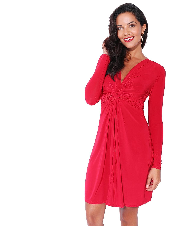TALLA 48. KRISP Vestido Mujer Fruncido Original Rojo Oscuro (9878) 48