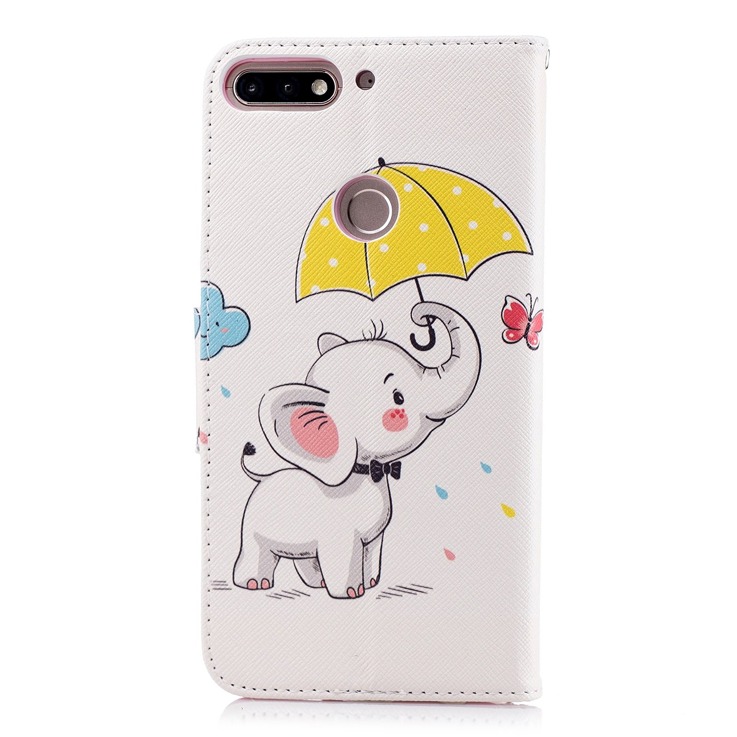 Honor 7C LOBFE11441#8 Huawei Y7 2018 Lomogo Leather Wallet Case with Kickstand Card Holder Shockproof Flip Case Cover for Huawei Y7 2018 Y7 Prime 2018 Case