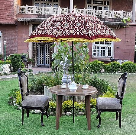 Lalhaveli Decorative Zari Embroidery Work Design Outdoor Umbrella Large 52 X 72 Inches
