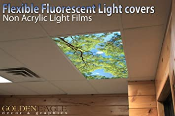 Forest Canopy View 2ft X 4ft Drop Ceiling Fluorescent Decorative Ceiling Light Cover Skylight Film
