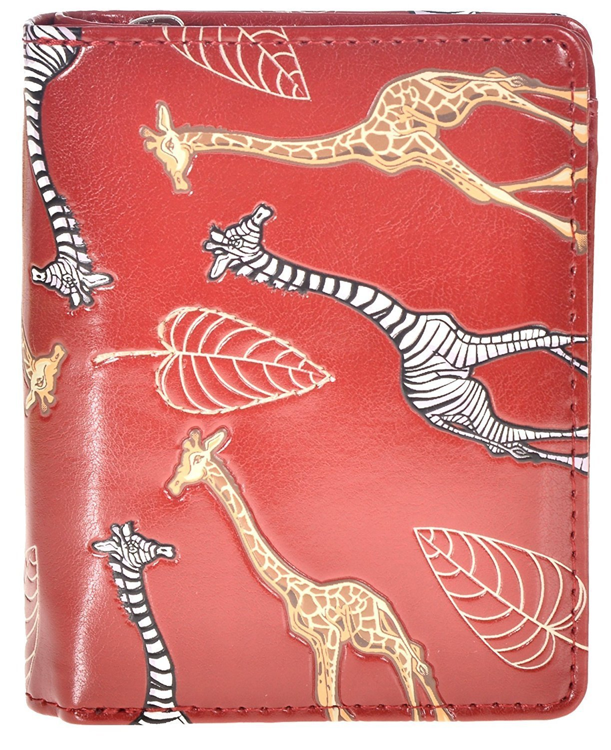 Shag Wear Women's Animal Design Small Zipper Wallet Giraffe Love Red by Shag Wear (Image #1)