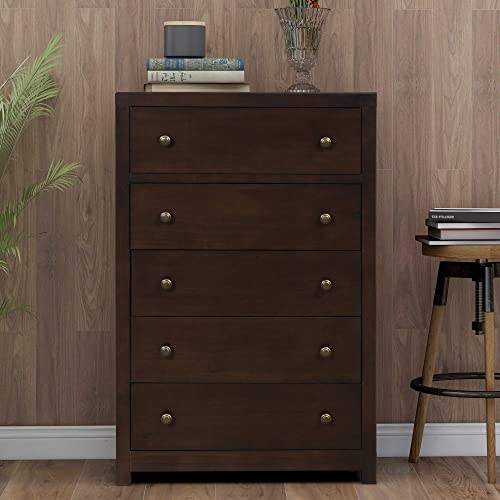 SOFTSEA 5 Drawers Solid Wood Chest with Wide Storage Space, Functional Organizer for Bedroom Rich Brown
