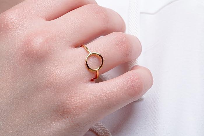 542ee1bf52a58 Amazon.com: Dainty circle ring, Love ring, Solid gold circle ring ...