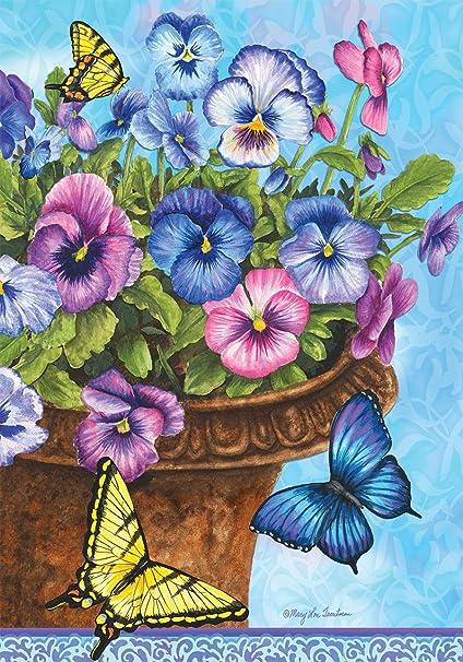 Briarwood Lane Pansies Spring House Flag Butterflies Basket Floral 28 X 40 Garden Outdoor