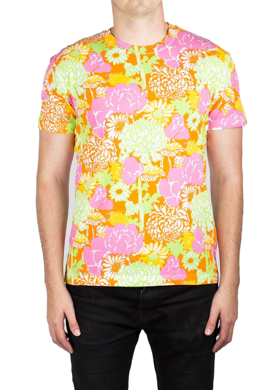 Prada Men's Jersey Cotton Crew Neck Graphic Logo T-Shirt Orange