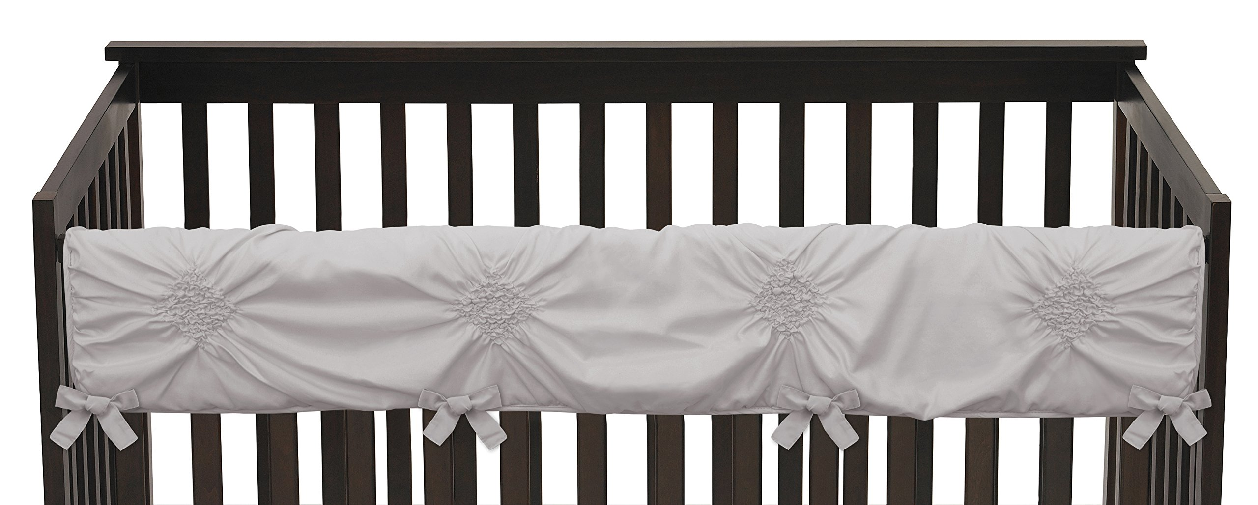 Solid Color Grey Shabby Chic Long Front Crib Rail Guard Baby Teething Cover Protector Wrap for Harper Collection by Sweet Jojo Designs by Sweet Jojo Designs (Image #3)