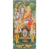 Bild Shiva & Parvati mit Ganesha & Kartikeya 100 x 50 cm Kunstdruck Plakat Poster Indien Hinduismus Hochglanz Dekoration