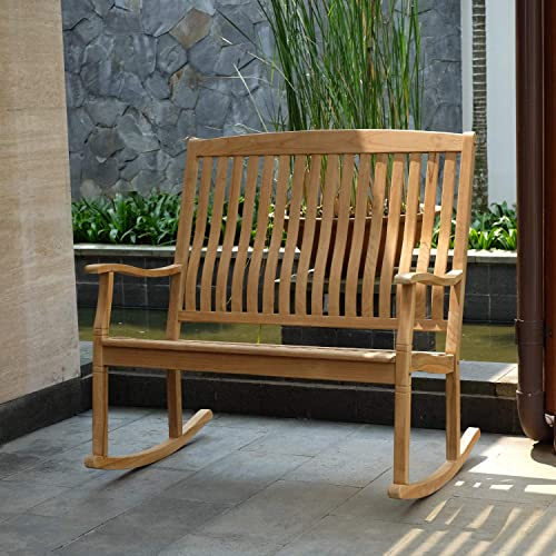 Cambridge Casual Solid Teak Wood Arie, Loveseat Rocking Chair