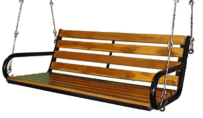 Kaushalendra Garden Zula Wooden Hanging Swing Teak Set Outdoor Indoor Ceiling Porch Patio Swing 153 (5ft.) cm