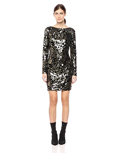 4fccedb3 Dress the Population Women's Lola Long Sleeve Sequin Dress at Amazon Women's  Clothing store:
